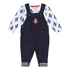 bluezoo - Baby boys' navy embroidered robot dungarees and bodysuit set
