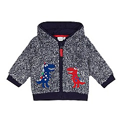 bluezoo - Baby boys' blue dinosaur applique hooded jacket