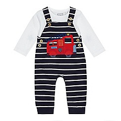 bluezoo - Baby Boys' navy striped fire truck applique dungarees and top set