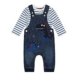 bluezoo - Babies blue denim embroidered dinosaur dungarees and striped bodysuit set