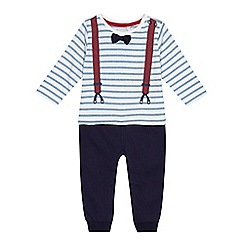 bluezoo - Baby boys' navy mock top and trousers romper suit
