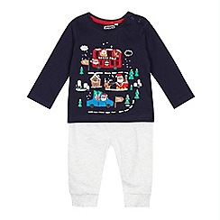bluezoo - Babies navy Christmas themed applique top and grey jogging bottoms set