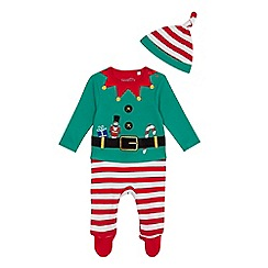 bluezoo - Babies' green elf applique sleepsuit and hat set
