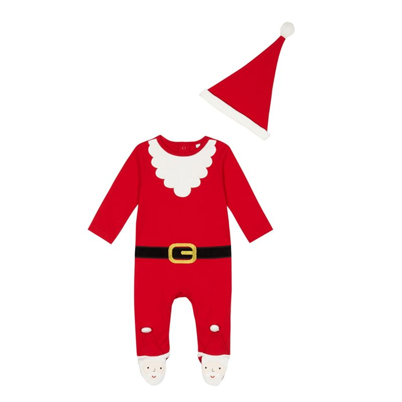 bluezoo Baby boys red Santa sleepsuit with a hat
