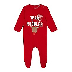 bluezoo - Babies red 'Team Rudolph' sleepsuit