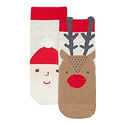 bluezoo - Pack of two babies multi-coloured Santa and reindeer Christmas socks