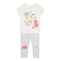 bluezoo - Baby girls' grey 'I love my mummy' slogan set