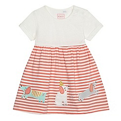 bluezoo - Baby girls' cream and peach striped dog applique dress