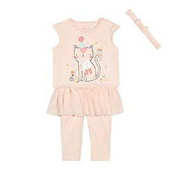 bluezoo - Baby girls' pink cat print top, leggings and headband set