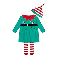 bluezoo - Baby girls' green elf dress, hat and tights set