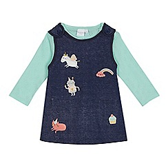 bluezoo - Baby girls' blue applique pinafore and top set