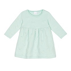 bluezoo - Baby girls' aqua heart textured jersey dress