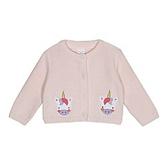 bluezoo - Baby girls' light pink knitted unicorn applique cardigan