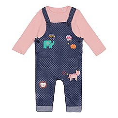 bluezoo - Baby girls' navy and pink top, dungarees set