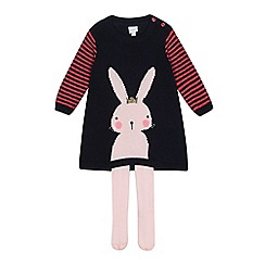 bluezoo - Baby girls' navy bunny knitted dress and tights set
