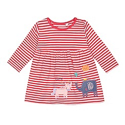bluezoo - Baby girls' pink stripe applique dress