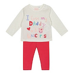 bluezoo - Baby girls' off white 'Daddy and unicorns' top and bottoms set