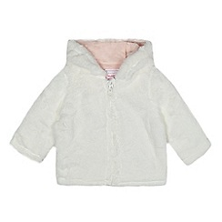 bluezoo - Baby girls' white faux fur hooded jacket
