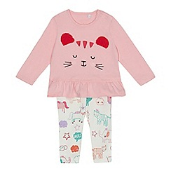 bluezoo - Baby girls' pink and off white animal print top and bottoms set