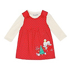 bluezoo - Baby girls' red fairy mouse applique pinafore and top set