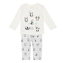 bluezoo - Baby girls' off white panda print top and leggings set