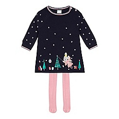 bluezoo - Baby girls' navy embroidered Christmas themes dress and tights set