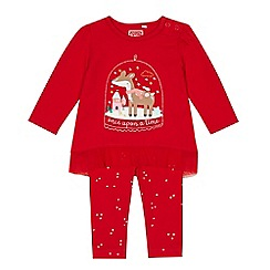 bluezoo - Baby girls' red deer applique top and leggings set
