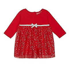 bluezoo - Baby girls' red mesh star dress