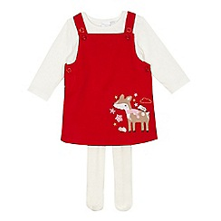 bluezoo - Baby girls' red corduroy deer applique pinafore, cream top and tights set