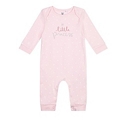 bluezoo - Baby girls' pink 'Little Princess' print sleepsuit