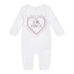 bluezoo - Baby girls' white 'Girl Power' sleepsuit