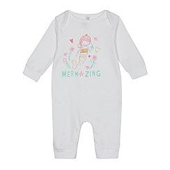 bluezoo - Baby girls' white 'Mermazing' print sleepsuit