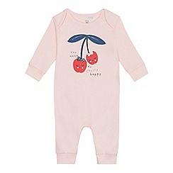 bluezoo - Baby girls' pink cherry slogan sleepsuit