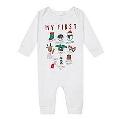 bluezoo - Babies white 'My First Christmas' print sleepsuit