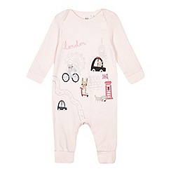 bluezoo - Baby girls' light pink animal London applique sleepsuit