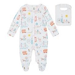 bluezoo - Babies' multi-coloured London print sleepsuit and bib set