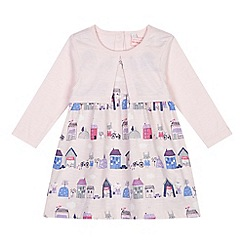 bluezoo - Baby girls' pink dress with mock cardigan