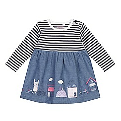 bluezoo - Baby girls' blue striped chambray applique dress