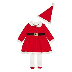 bluezoo - Baby girls' red 'Mrs Christmas' dress, hat and tights set