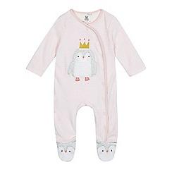 bluezoo - Baby girls' pink penguin applique sleepsuit