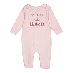 bluezoo - Baby girls' light pink 'My First Diwali' print sleepsuit