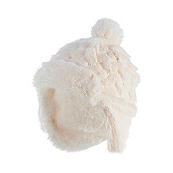 bluezoo - Baby girls' cream faux fur sequinned trapper hat