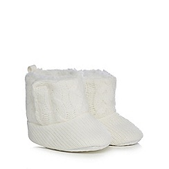 bluezoo - Baby girls' white cable knit booties