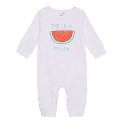 bluezoo - Baby girls' white melon slogan sleepsuit