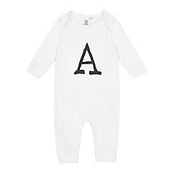 bluezoo - Babies white 'A' print sleepsuit
