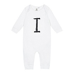 bluezoo - Babies white 'I' print sleepsuit