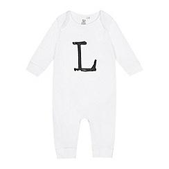 bluezoo - Babies white 'L' print sleepsuit