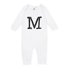 bluezoo - Babies white 'M' print sleepsuit