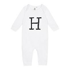 bluezoo - Babies white 'H' print sleepsuit