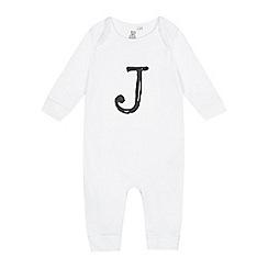 bluezoo - Babies white 'J' print sleepsuit